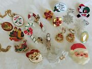 20 Pc Vintage Christmas Jewelry Lot Lenox Gerry's Sarah Coventry See All Photos