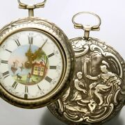 Antique Verge Fusee Repousse Silver Pair Case Fancy Dial Pocket Watch With Key