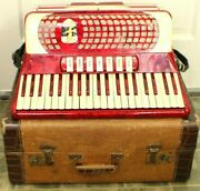 Vintage 50and039s Capri Accordion Red And White Pearloid With Straps And Case Italy