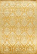 Gold/ Silver Vegetable Dye Versace Design Area Rug Wool/ Silk Hand-knotted 9x12
