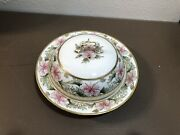 Covered Round Dish Hand Painted Gold Moriage Flowers Nippon Antique Tableware