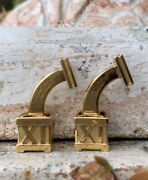 Vintage And Co 18k Gold Roman Numeral Cufflinks Circa 1980s