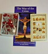 Stations Of The Cross Rosary Chaplet Metal Stations Glass Beads Pamphlet And Card