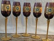 Vintage Murano Glass /24 Carat Gold Gilded Exclusively Hand Painted Glasses @5