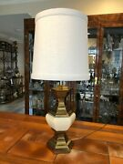Vintage Stiffel Brass And Porcelain Hexagonal Table Lamp, 22 T Bottom To Socket