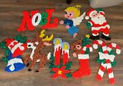 Huge Lot Of 7 Vintage Melted Plastic Popcorn Wall Christmas Decorations