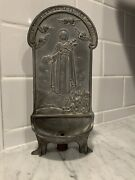 Vintage Religious Statue Holy Water Font Holder Pewter