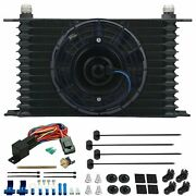 13 Row 10an Transmission Cooler 6 Fan Fin Probe 180'f Thermal Switch Wiring Kit