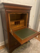 Magnificent Antique Drop Front Writing Desk With Hidden Drawer Secretary