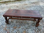 Vintage Bench Coffee Table Leather Top Peruvian Collectible South American Theme