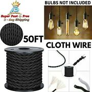 Vintage Cloth Covered Wire Cable Cord For Antique Industrial Pendant Lamp 50 Ft
