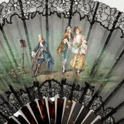 Antique Silk/faux Shell Fan Courting Couple And Cello, W/original Box, 19th C