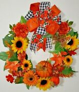 Fall Wreath 29 Inch For Front Door With Pumpkin And Butterflies.