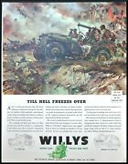 1943 Original Willys Jeep Ad - Till Hell Freezes Over - Sessions Art Wwii - Rare