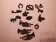 Cracker Jack Vintage Lot Of 15 1920and039s Metal Toys Charms Prizes