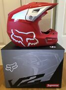 Supreme Ss18 Honda Fox Racing V2 Helmet Red Size L 100 Authentic In Hand