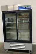 Fisher Scientific 13-986-128s Isotemp +4canddeg Two Glass Door Refrigerator 115v