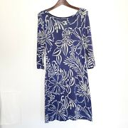 Lily Pulitzer Wool Floral Pipster Dress Navy Women's Med