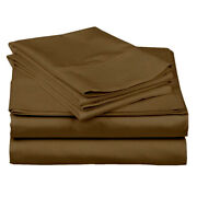 100 Cotton 4pc Pillow Bed Sheet Set Sand/taupe 600-800 Tc Extra Deep Pocket