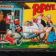 Popeye Lunch Box Water Bottle Set Tin Vintage 1960's From Japan 6