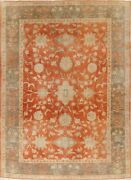Antique Orange Rust/green All-over Authentic Oushak Turkish Wool Area Rug 8and039x11and039