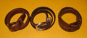 Women's Lot Of 3 Talbots Brown Genuine Braided Leather Slim Belts Size S/xs.