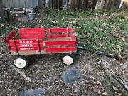 Vintage Radio Flyer Wooden Wagon 1960s Town And Country Model Redandnbsp