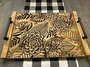 Farmhouse Rustic Handmade Wood Serving Tray For Coffee Table / Ottoman / Kitchen