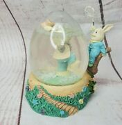 Bunny With Butterfly Net With Bunny In Egg Glass Snow Globe Easter