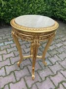 French Louis Xvi Pedestal Side Tables In Gold With Marble Top - Made To Order