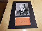 Henry Ford Mounted Photograph And Preprint Autograph Mount Size A4