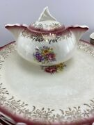 Vintage French Saxon China Usa 22k Gold 46 Pieces Dinnerware Serving Pieces