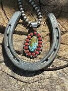 Navajo Sterling Silver Kingman Web Turquoise And Red Coral Taos Cluster Pendant