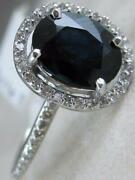 Estate 2.22ctw Diamond Sapphire 14kt White Gold Oval Halo Cocktail Ring 87fr25w