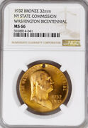 1932 Ny Medal - George Washington Bicentennial, State Commission, Ms66 Ngc Token