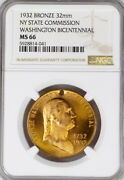1932 Ny Medal - George Washington Bicentennial State Commission Ms66 Ngc Token