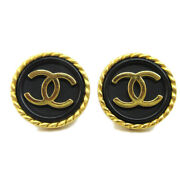Cc Button Motif Earrings Gold Black Clip-on 96a Accessories 10471