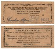 1943 Philippines Mindanao 20 Centavos Emergency Banknote S483a Wwii 1st Printing