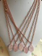 Rose Quartz Nugget And Bead Pendants On Rose Gold Plated Curb Chains