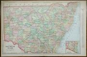 Vintage 1900 New South Wales Map 22x14 Old Antique Original Newcastle