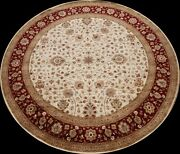 Vegetable Dye Ivory Fine Agra Oriental Runner Rug Hand-knotted Wool 10x10 Round