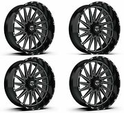 Set 4 26x12 Tis 547bm 8x6.50 -44mm Wheels Machined Gloss Black Rims W/ Lugs