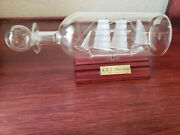 Spun Glass Ship In A Bottle W/ Wood Stand R.r.s. Discovery