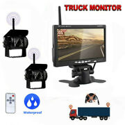 Hd Back Up Camera Wireless X2 Ir Rear View Night System+ 7 Monitor For Truck Rv