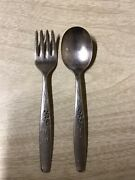 Oneida Community Silver Plate Baby Toddler Fork And Spoon Set
