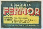 Large Hand-painted Wooden Sign - 1930and039s - Produit Fermor 58andfrac34 X 39andfrac34