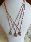 Rhodonite Nugget And Bead Pendants On Rose Gold Plated Curb Chains