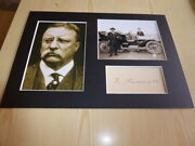 Theodore Roosevelt Mounted Photographs And Preprint Signed Autograph Card