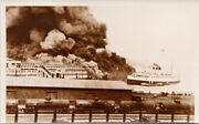 Fire At Cpr Dock 1938 Vancouver Bc Princess Charlotte Rppc Postcard G15 As Is