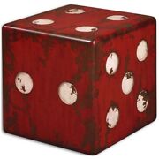 Red Dice Accent End Tables Side Seat Game Room Gambling Craps Casino 24168